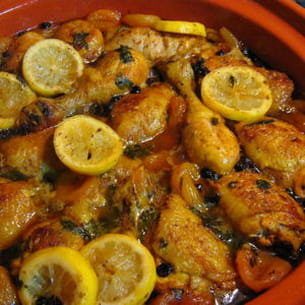 tajine de poulet aux citrons confits et abricots