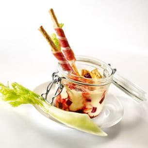 crème de foie gras, betteraves confites et dips de jambon cru