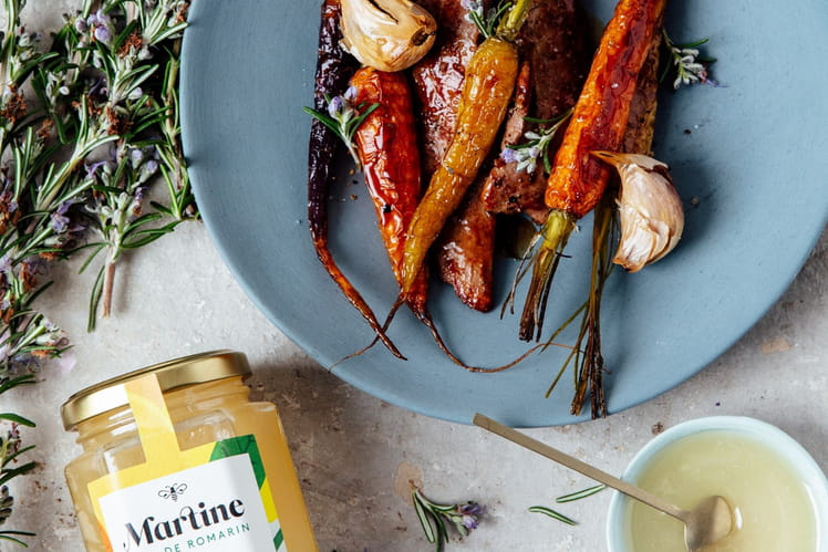 Aiguillettes de canard et carottes au miel Martine de romarin