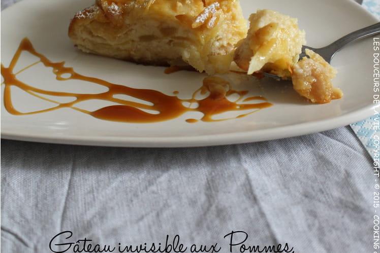 Gâteau invisible aux pommes, amandes et caramel