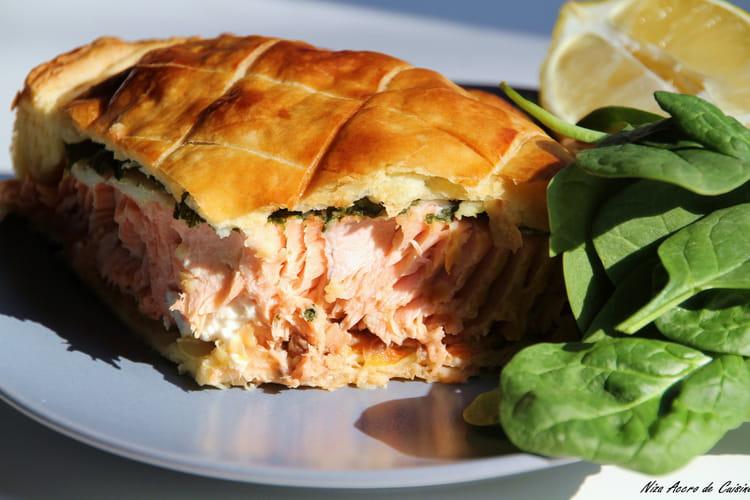 Filet de saumon aux épinards frais, en croûte feuilletée
