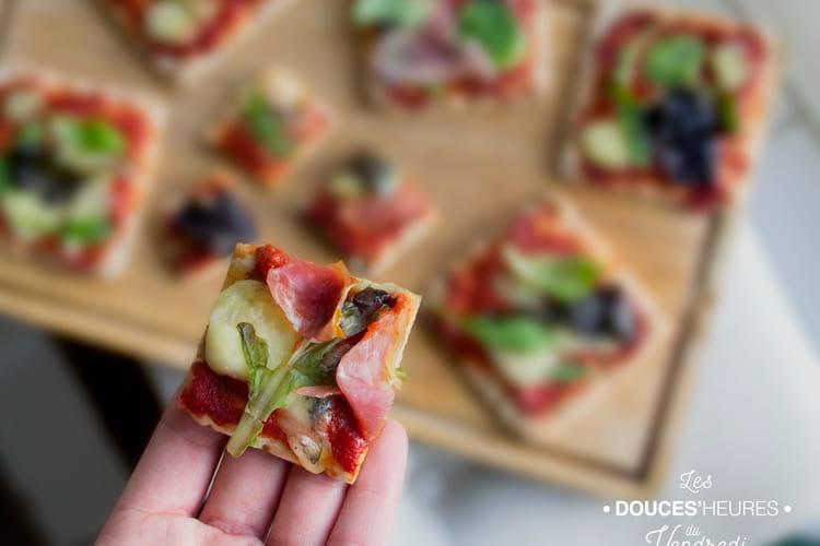 Pizza apéritive au pain suédois, morbier et jambon de Parme