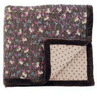 courtepointe petit fleuri rose et chocolat/pois de jardin d'ulysse, à partir de