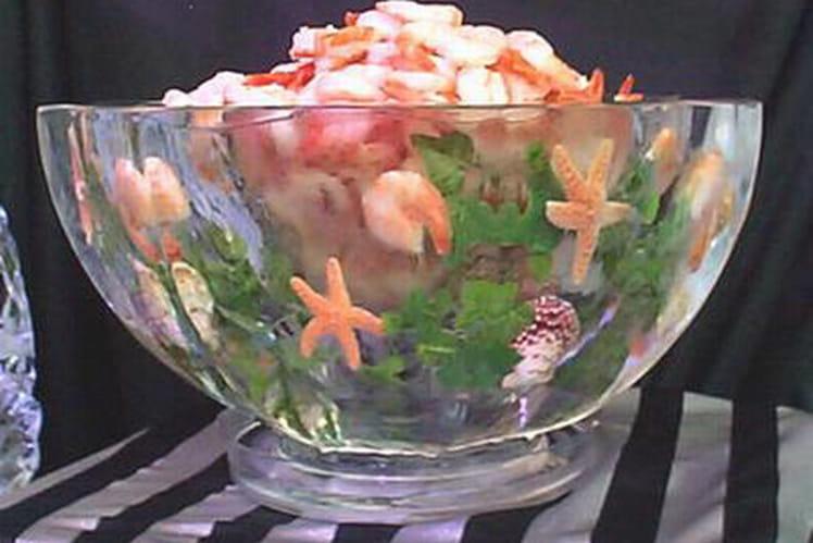 Cocktail de crevettes aux oeufs mollets
