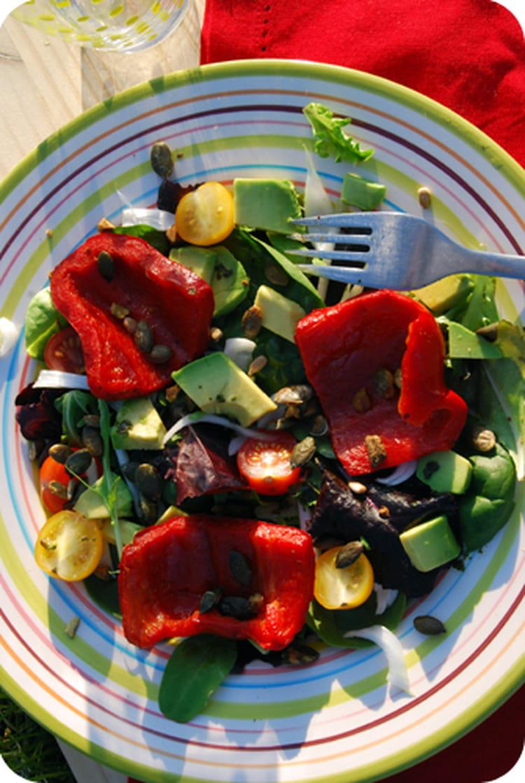 Recette de salade aux poivrons grill s et graines de - Salade de poivrons grilles ...