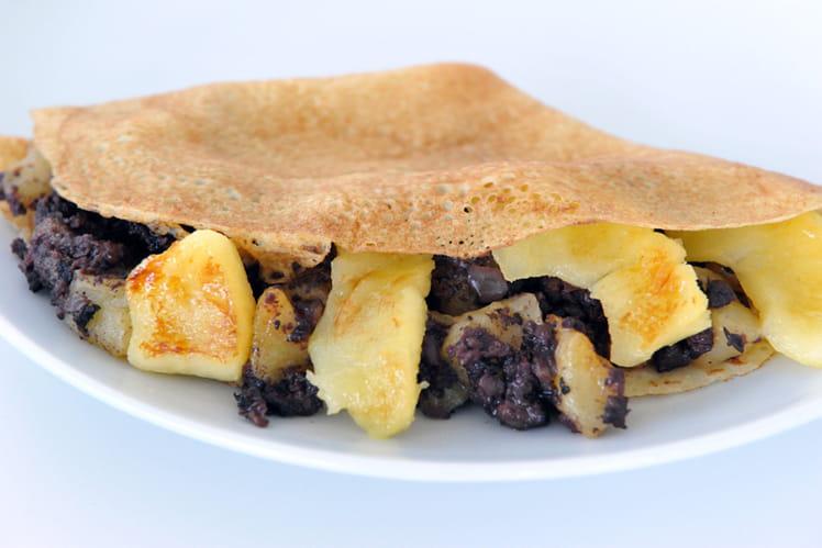 Crêpe boudin noir et pommes caramélisées