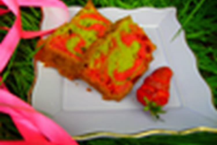 Cake psychédélique fraise pistache