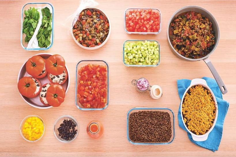 Le menu d'été batch cooking de Caroline Pessin (Hachette Cuisine)