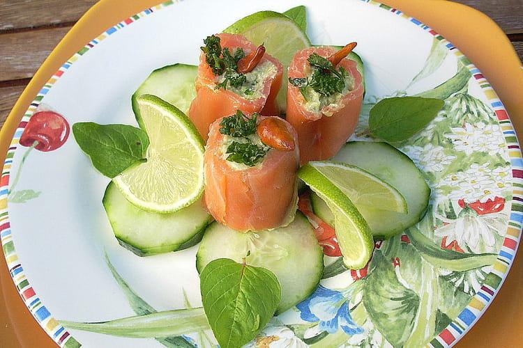 Assiette de saumon farci truite et avocat