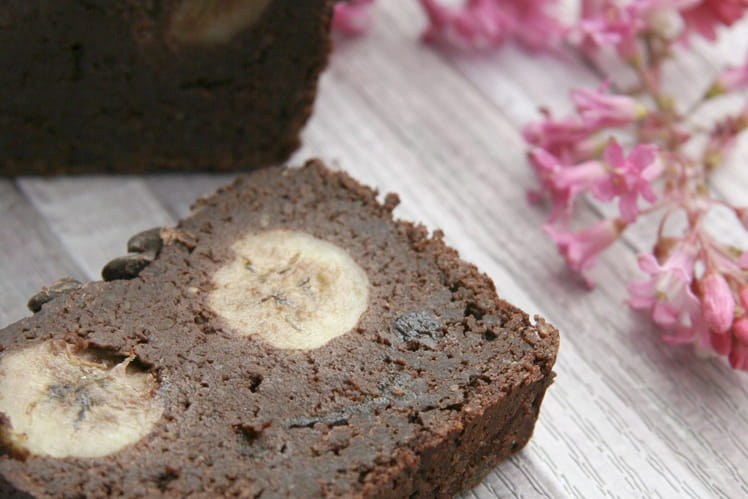 Cake ultra-fondant chocolat-banane sans gluten, sans lactose et sans oeuf