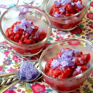 kir granité vanillé aux framboises et aux violettes