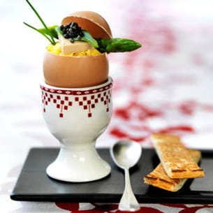œufs brouillés au caviar et foie gras