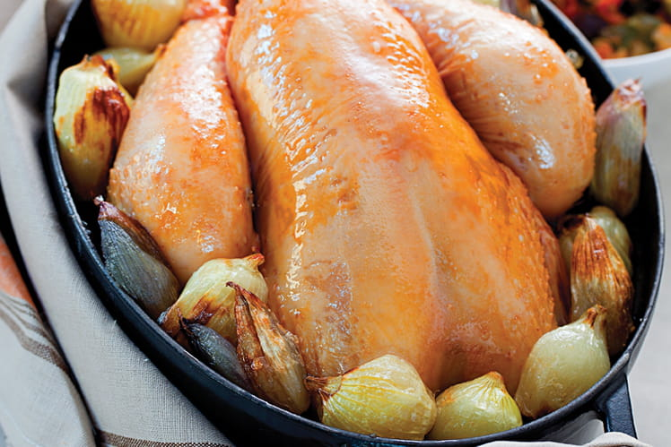 Poulet  en cocotte aux échalotes et oignons grelot