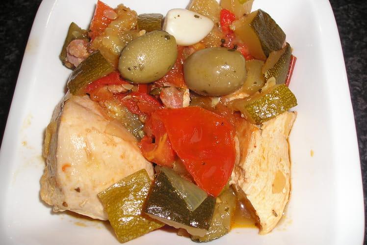 Poulet aux olives et ses légumes