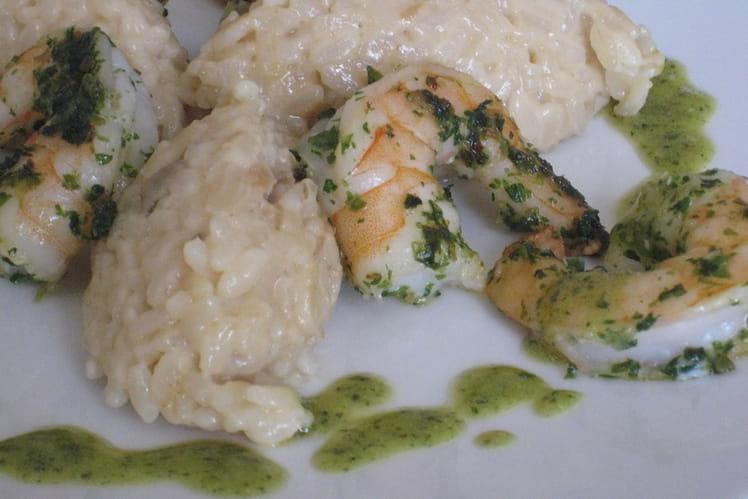 Risotto aux crevettes, pesto et parmesan