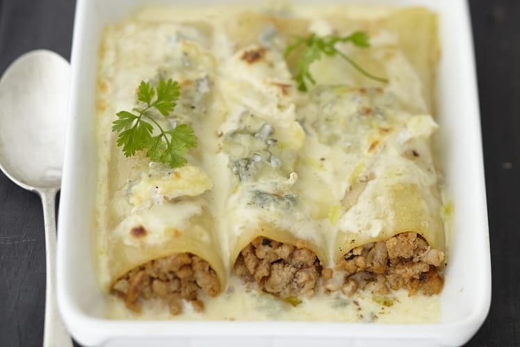 Cannelloni gratinés au Bresse Bleu