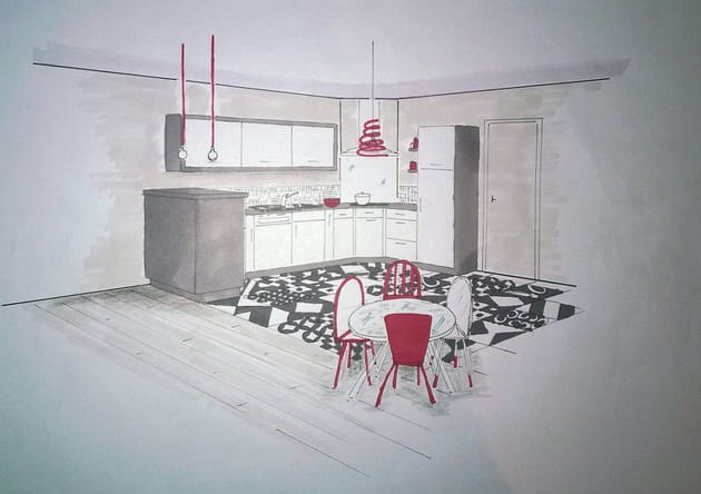 Croquis de la nouvelle cuisine par la décoratrice, Lydie Pineau