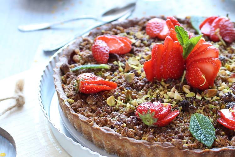 Tarte aux fraises et streusel croquant aux pistaches