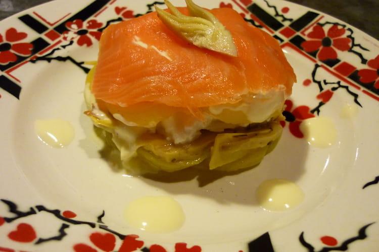 Mille-feuille coeur coulant saumon artichaut