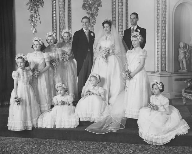 La Princesse Margaret, ses demoiselles d'honneur et Antony Armstrong-Jones