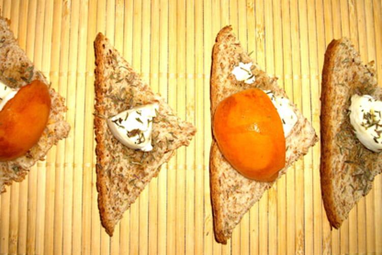 Toasts abricot, chèvre et miel