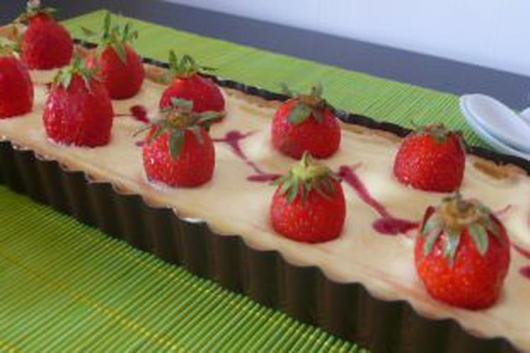 Tarte aux fraises, crème chiboust au citron