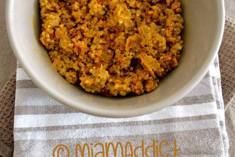 Curry de lentilles, quinoa et carottes aux amandes