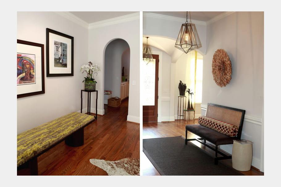 banc et banquette dans l 39 entr e avant apr s nouveau look pour une maison am ricaine. Black Bedroom Furniture Sets. Home Design Ideas