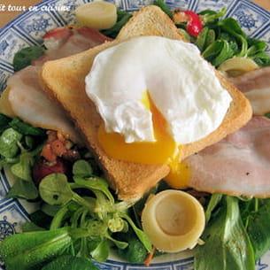 petite salade fraîcheur aux œufs pochés