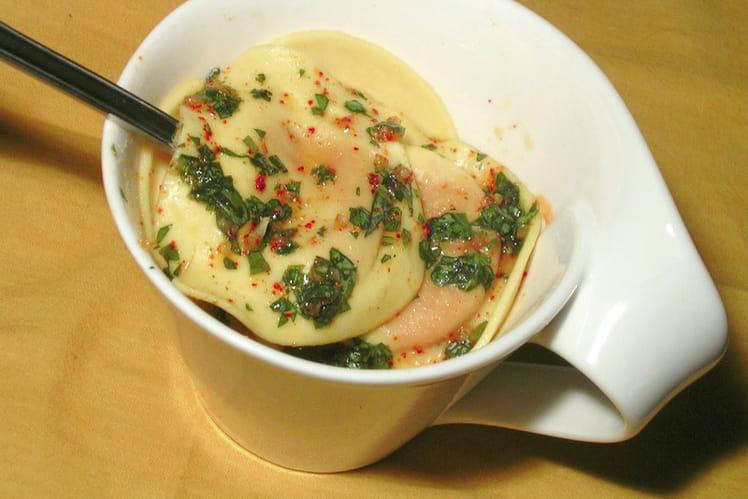 Raviolis de légumes sauce pimentée au basilic