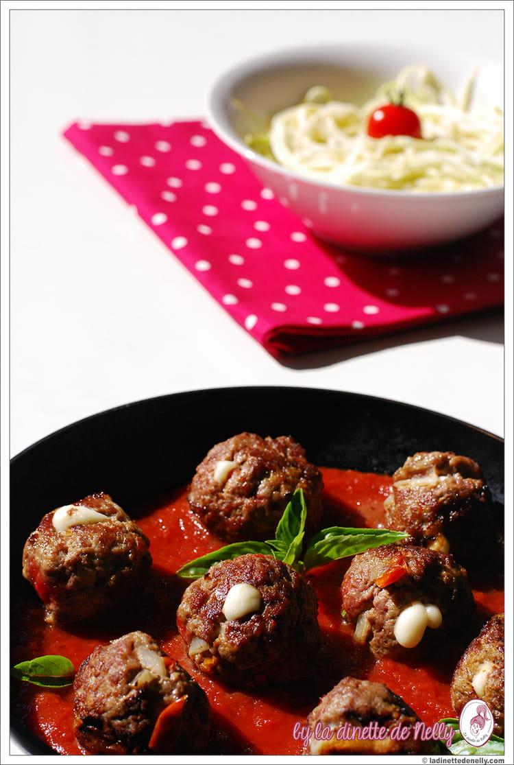 Recette de boulettes de boeuf coeur filant de mozzarella - Cuisiner le coeur de boeuf ...