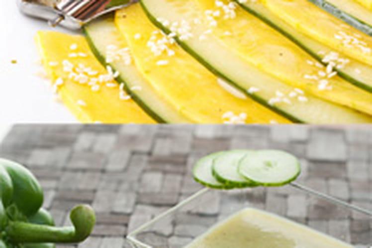 Gaspacho vert accompagné d'un carpaccio de légumes