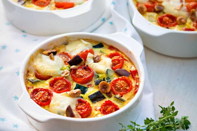 Clafoutis de légumes rôtis, noisettes et crottin de Chavignol
