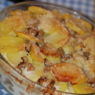 gratin de pommes de terre et champignons