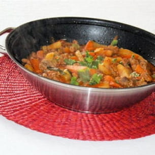 wok de filet mignon de porc au curry de légumes