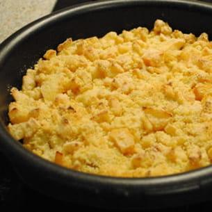 crumble poulet au curry et aux pommes