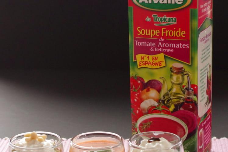 Soupe Froide de Tomate Aromates & Betterave Alvalle et son trio de verrines roses