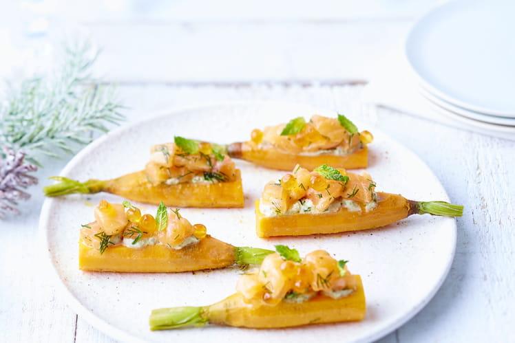 Saumon de Norvège mariné sur toasts de carottes