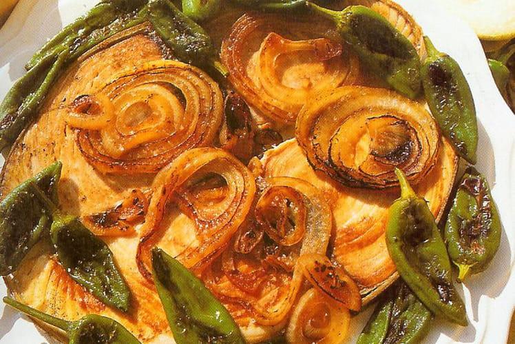 Thon aux piments et aux légumes (à la plancha)