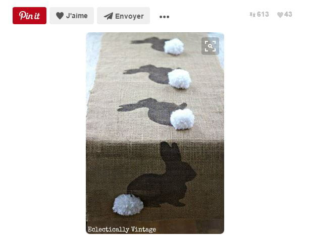Chemin de table lapin pompon