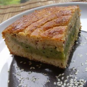 gâteau basque au thé matcha et aux noisettes