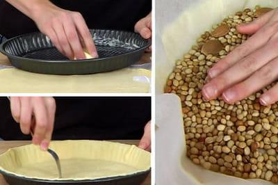 la pâte à tarte est cuite sans garniture.