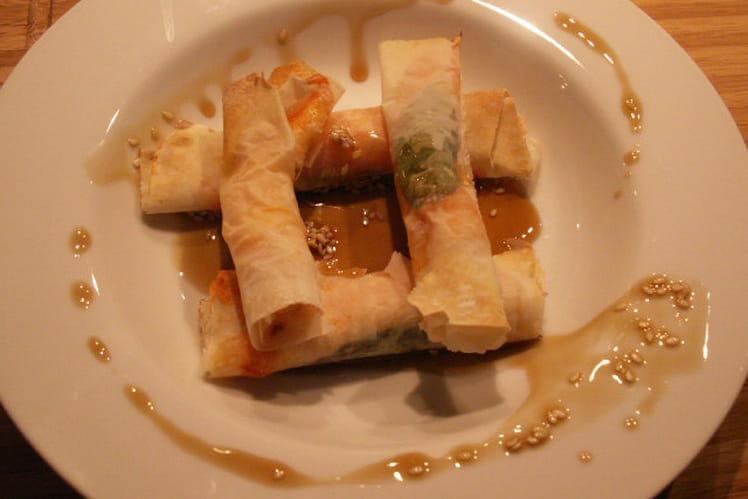 Nems de crevettes, caramel tiède japonais