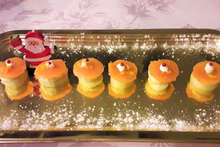 Bouchées de saumon fumé pomme de terre banane parfumées à la mandarine
