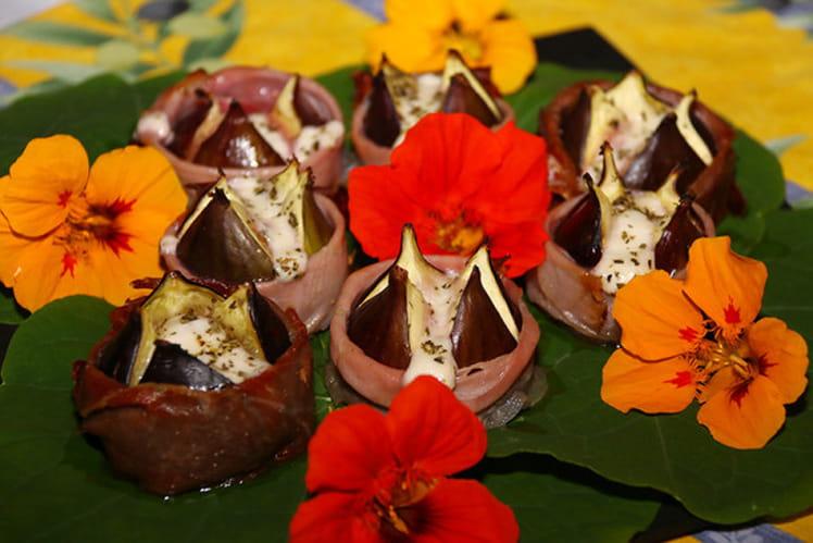 Figues rôties au miel de fleurs d'oranger, bocconcini de mozarella et prosciutto
