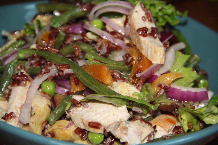 Salade de riz rouge, haricots verts, petits pois, coeurs d'artichaut, dinde, oignons rouges, abricots secs et pistaches