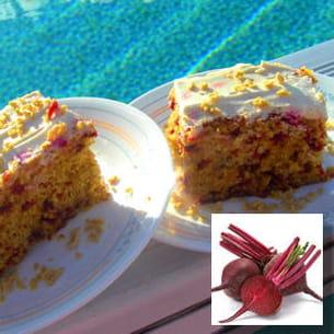 gâteau de betteraves à l'érable et noisettes