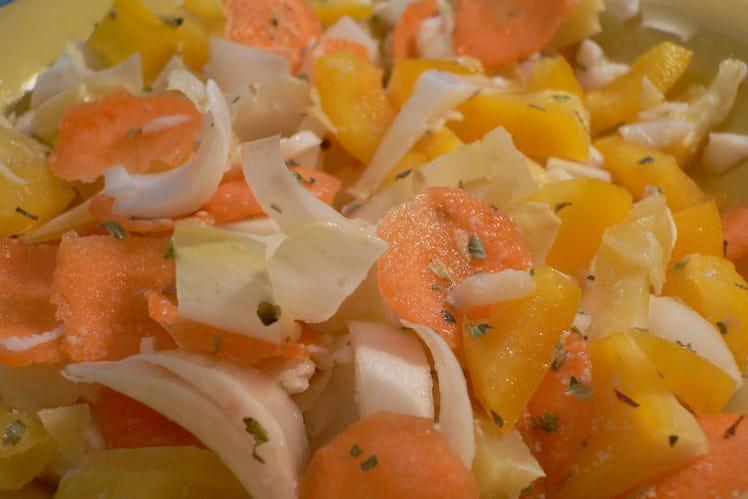 Salade d'endives au Comté et au crabe