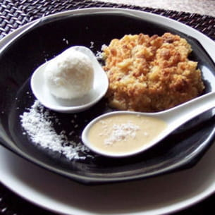 crumble ananas-coco et son coulis