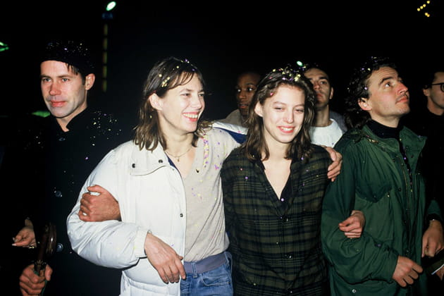 """Avec Kate Barry lors d'une manifestation de """"SOS Racisme"""" à Paris, 1985"""